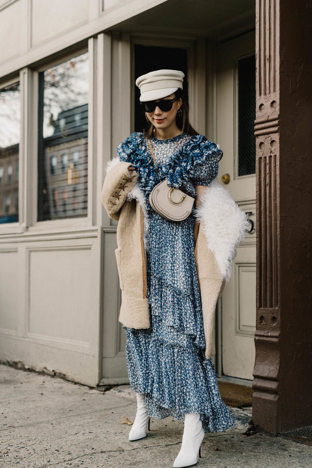 Ulla Johnson Coat, Ulla Johnson Top, Ulla Johnson Skirt,  Barneys New York Boots ,  Chloe Bag ,  Ruslan Baginskiy Hat , Celine Sunglasses