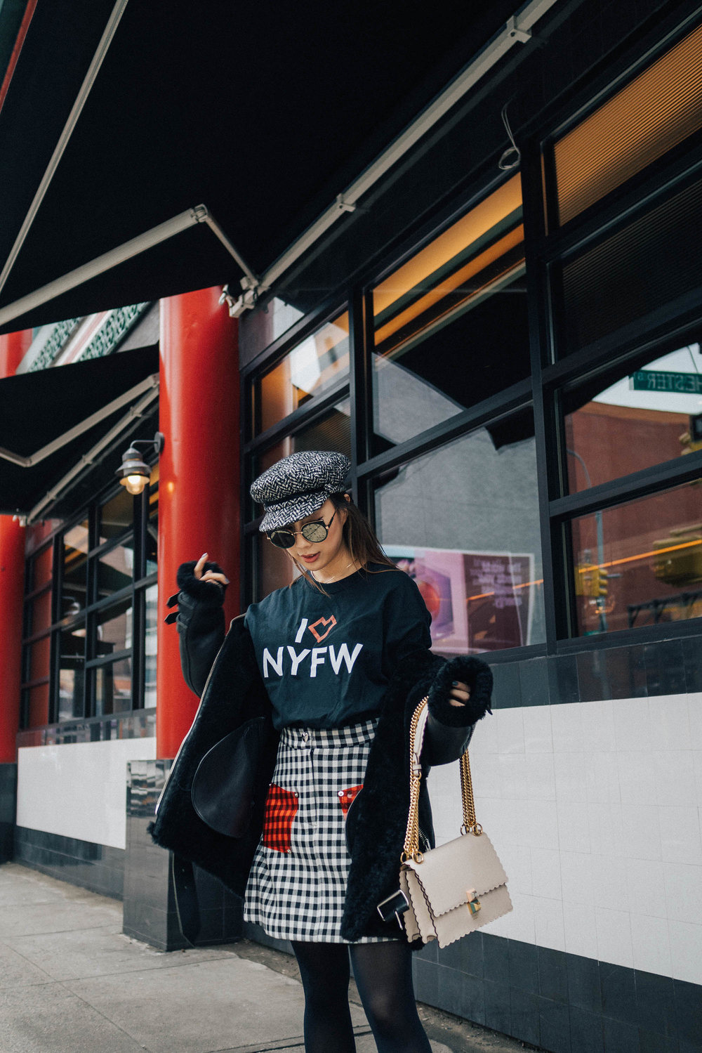 Acne Studios Coat, Barneys New York Top,  Vivetta Skirt ,  Fendi Shoes ,  Fendi Bag , Eugenia Kim Hat, Gentle Monster Sunglasses