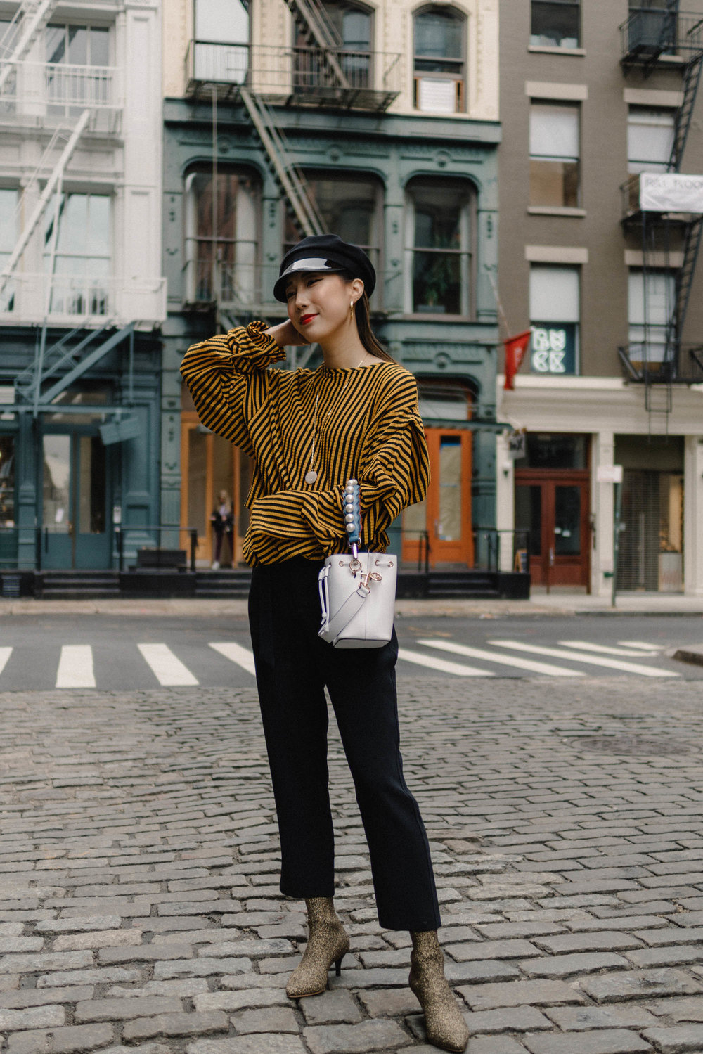 Zara Top ,  Petite Studio Pants ,  Loeffler Randall Boots ,  Fendi Bag , Gucci Hat