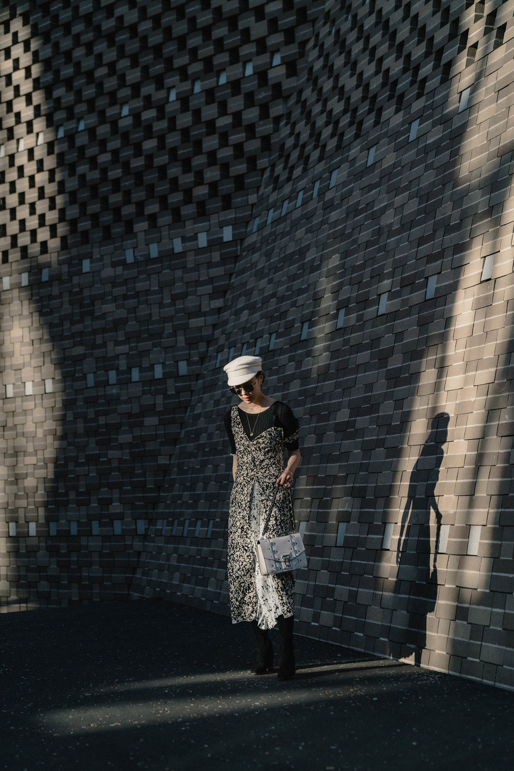 Proenza Schouler Top ,  Proenza Schouler Dress ,  Proenza Schouler Bag ,  Ruslan Baginskiy Hat ,  Gentle Monster Sunglasses