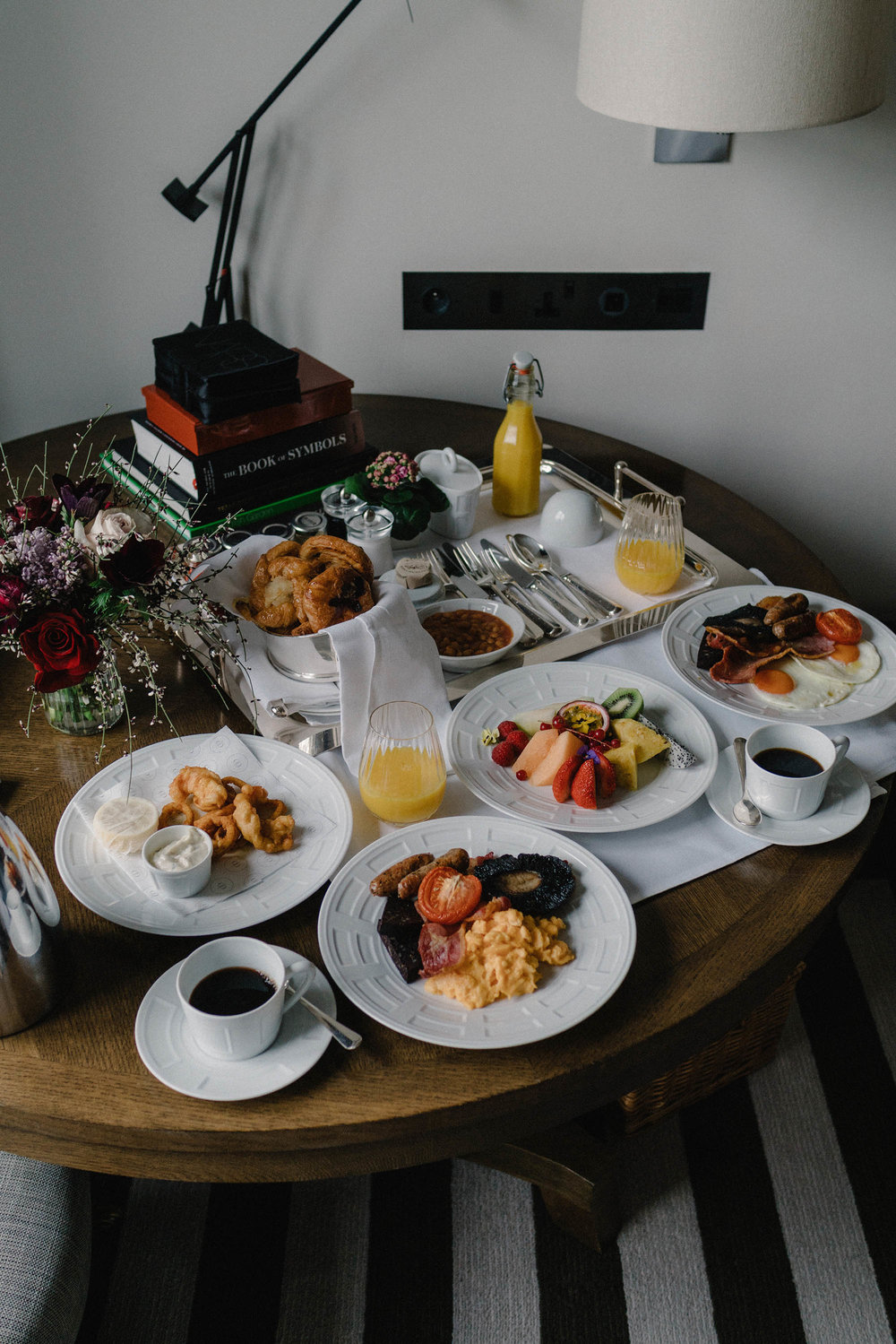 In-room breakfast spread at  Rosewood London