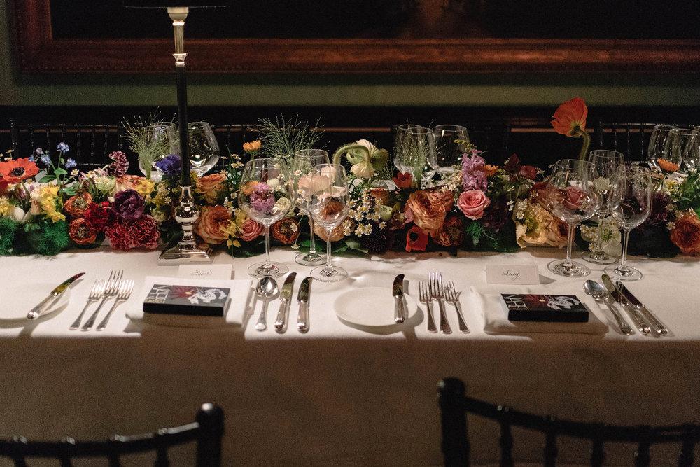 Dinner setting with designer Erdem Moralioglu, for the  NARS x Erdem Strange Flowers Collection in London