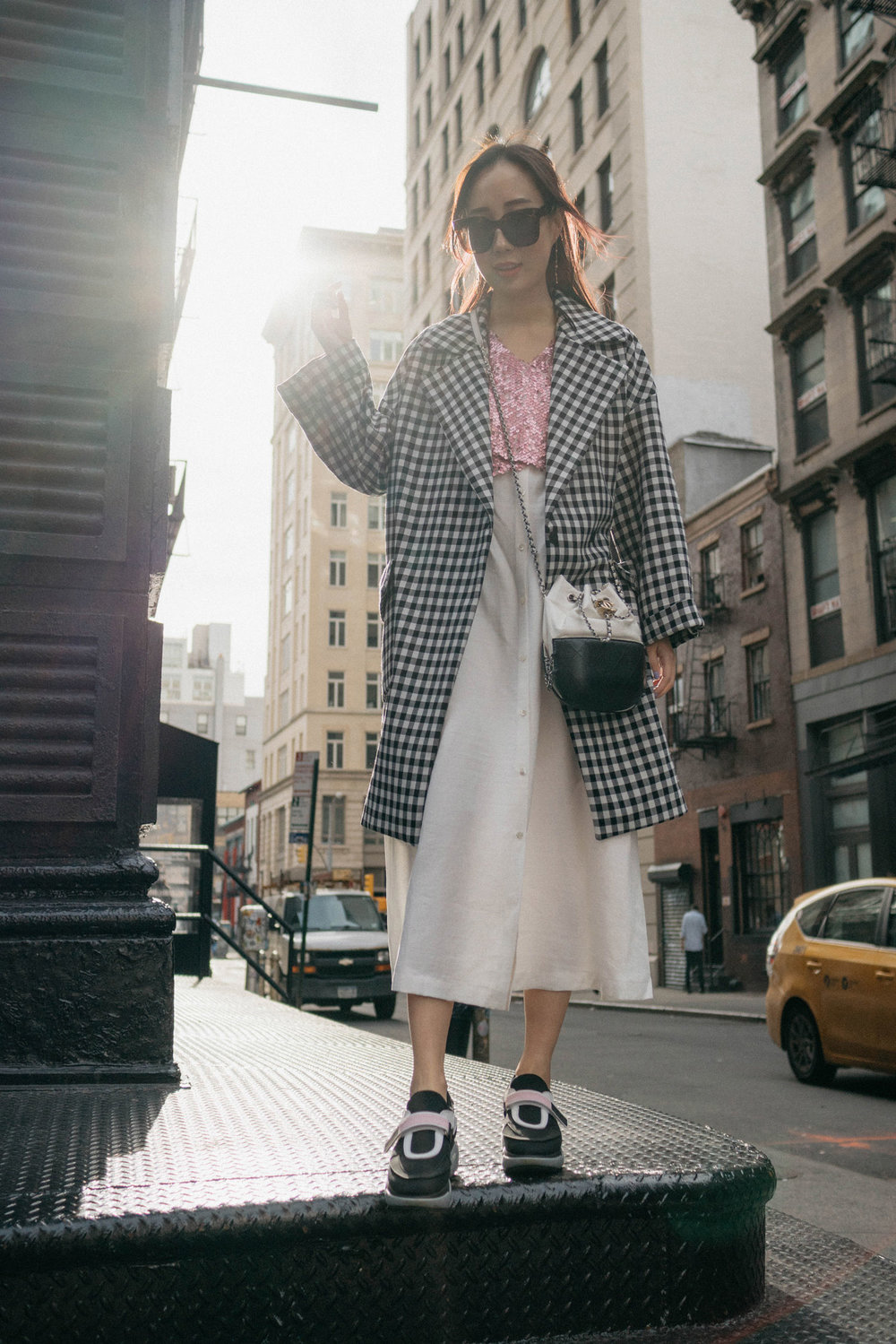 Zara Coat ,  The Ashlynn Dress ,  Prada Sneakers , Chanel Bag