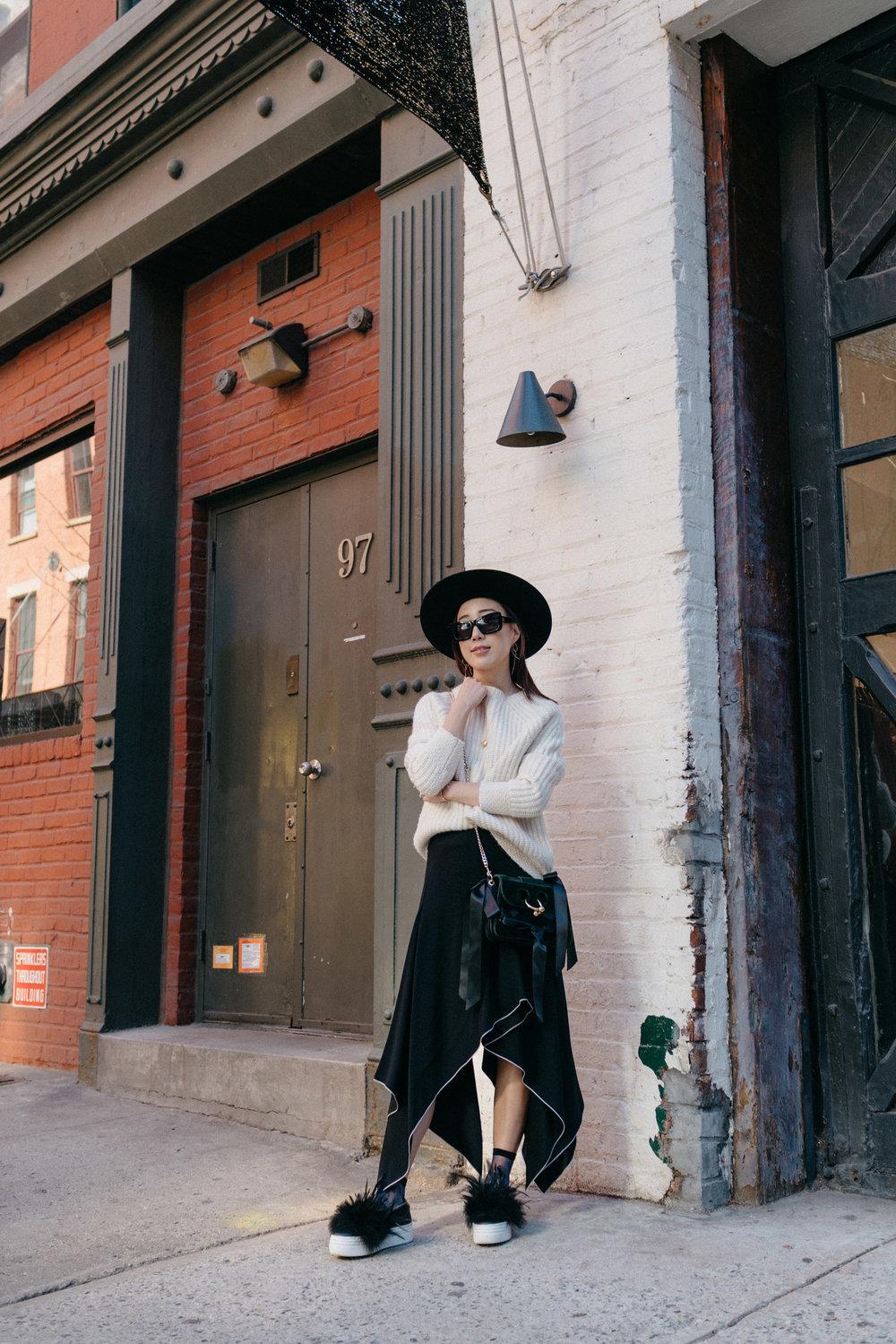 Nili Lotan Sweater, Proenza Schouler Skirt,  Here/Now Shoes , J.W. Anderson Bag