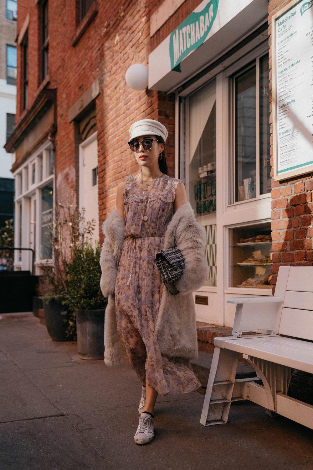 Pologeorgis Coat , Zimmermann Dress,  Golden Goose Shoes,  Chanel Bag,  Ruslan Baginskiy Hat