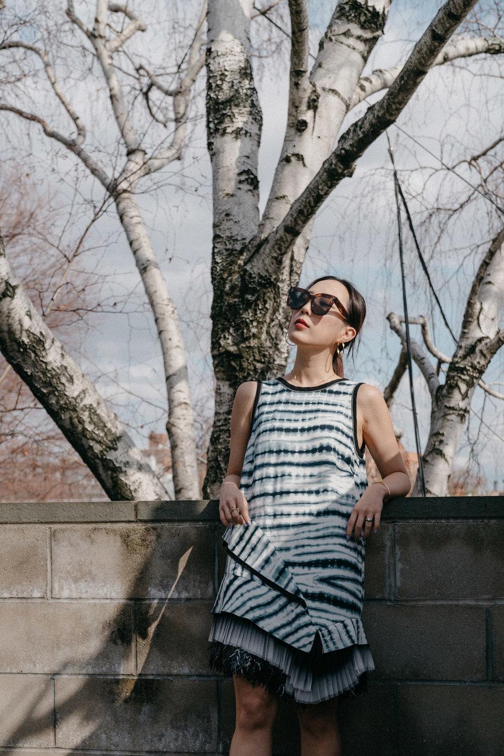Proenza Schouler Dress , Celine Sunglasses, Celine Earrings