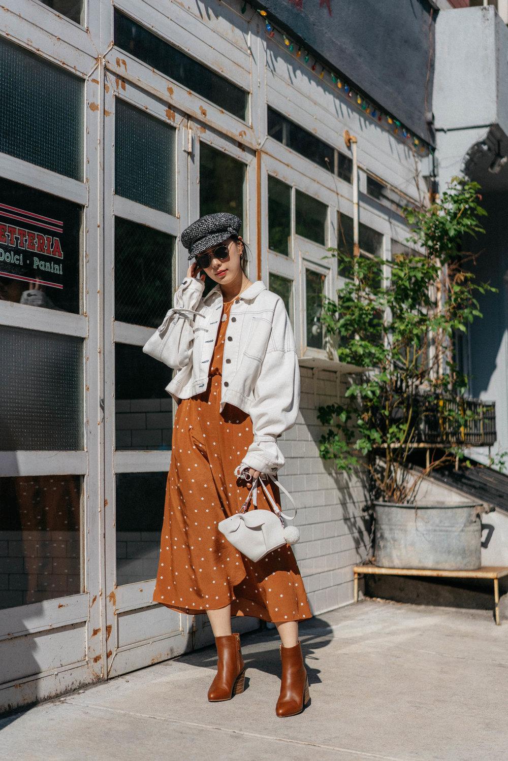 Sezane Dress , Gabriela Hearst Boots,  Loewe Bag , Eugenia Kim Hat,  CVC Stones Necklace ,  Eyevan 7285 Sunglasses ,  Donni Charm Scrunchie