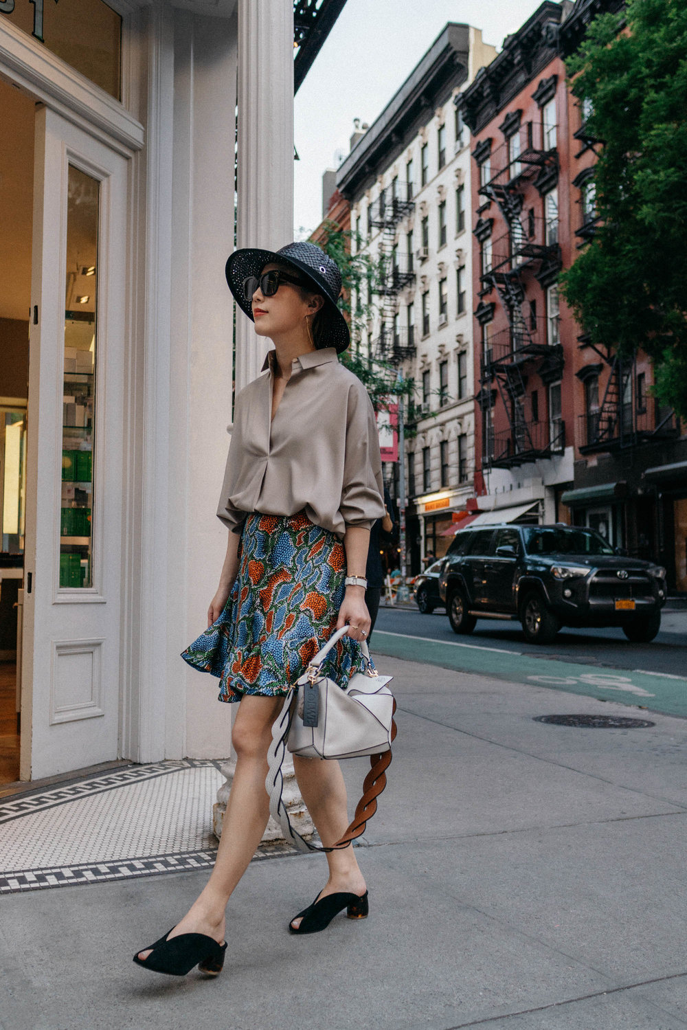 Lie Sang Bong Top, Chloe Skirt,  Dear Frances Shoes , Loewe Bag, Loewe Hat,  Celine Sunglasses ,  Hermes Watch