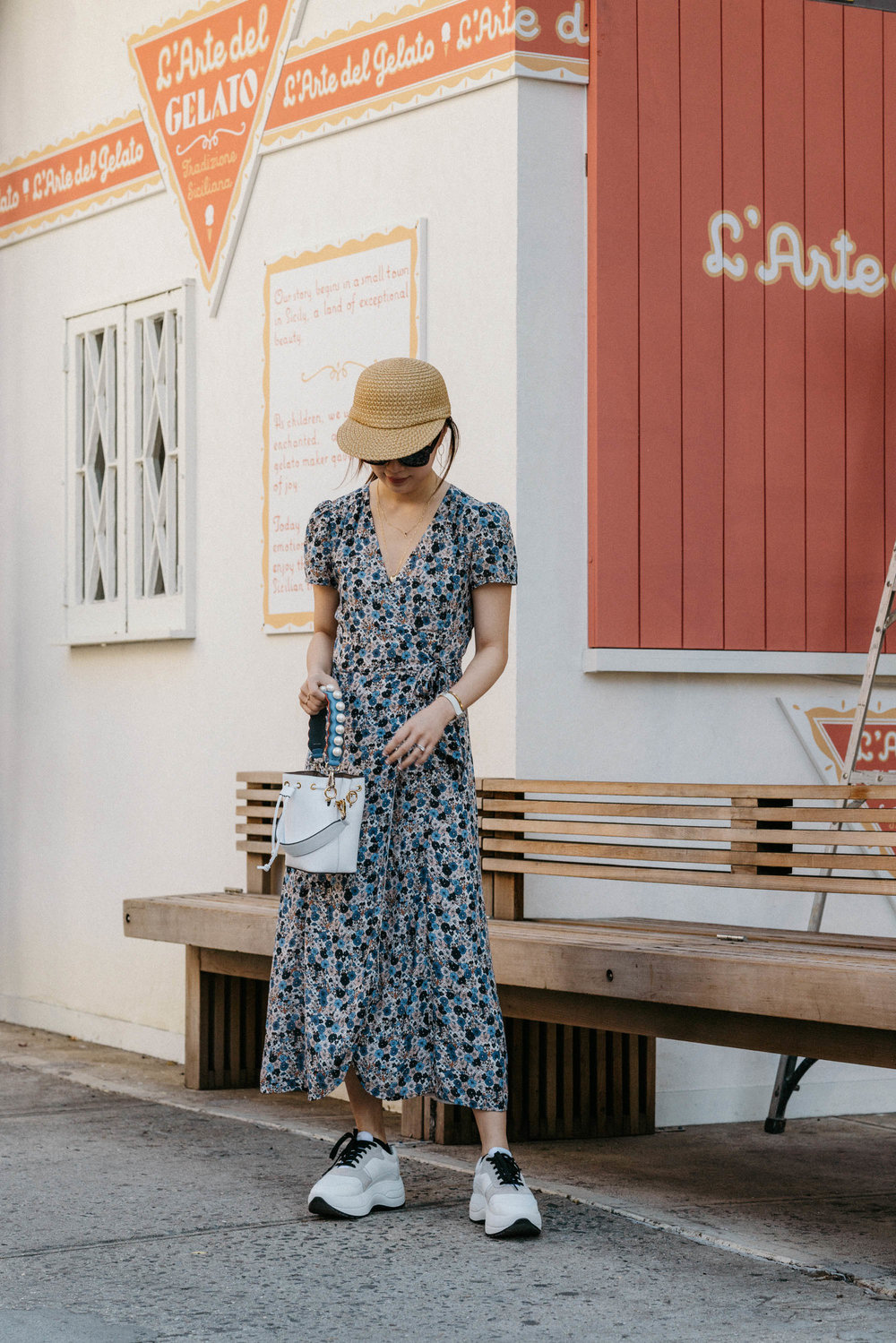 Sezane Dress , Celine Shoes,  Fendi Bag ,  Eric Javits Hat ,  Celine Sunglasses