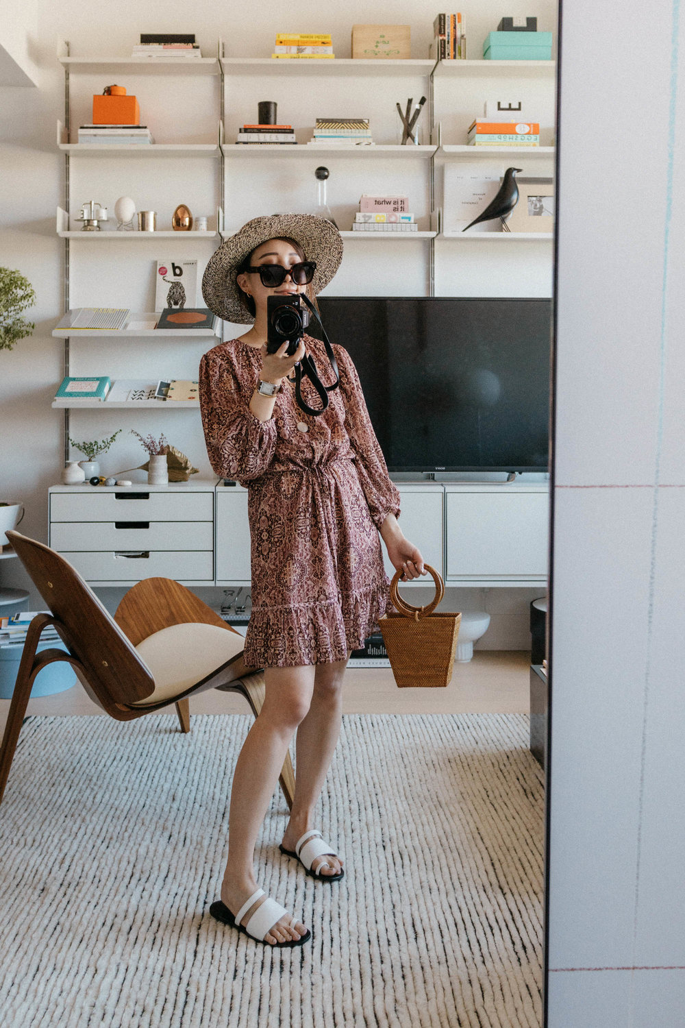 Madewell Dress ,  Cuero & Mor Sandals ,  Bembien Bag , Celine Sunglasses, Sensi Studio Hat