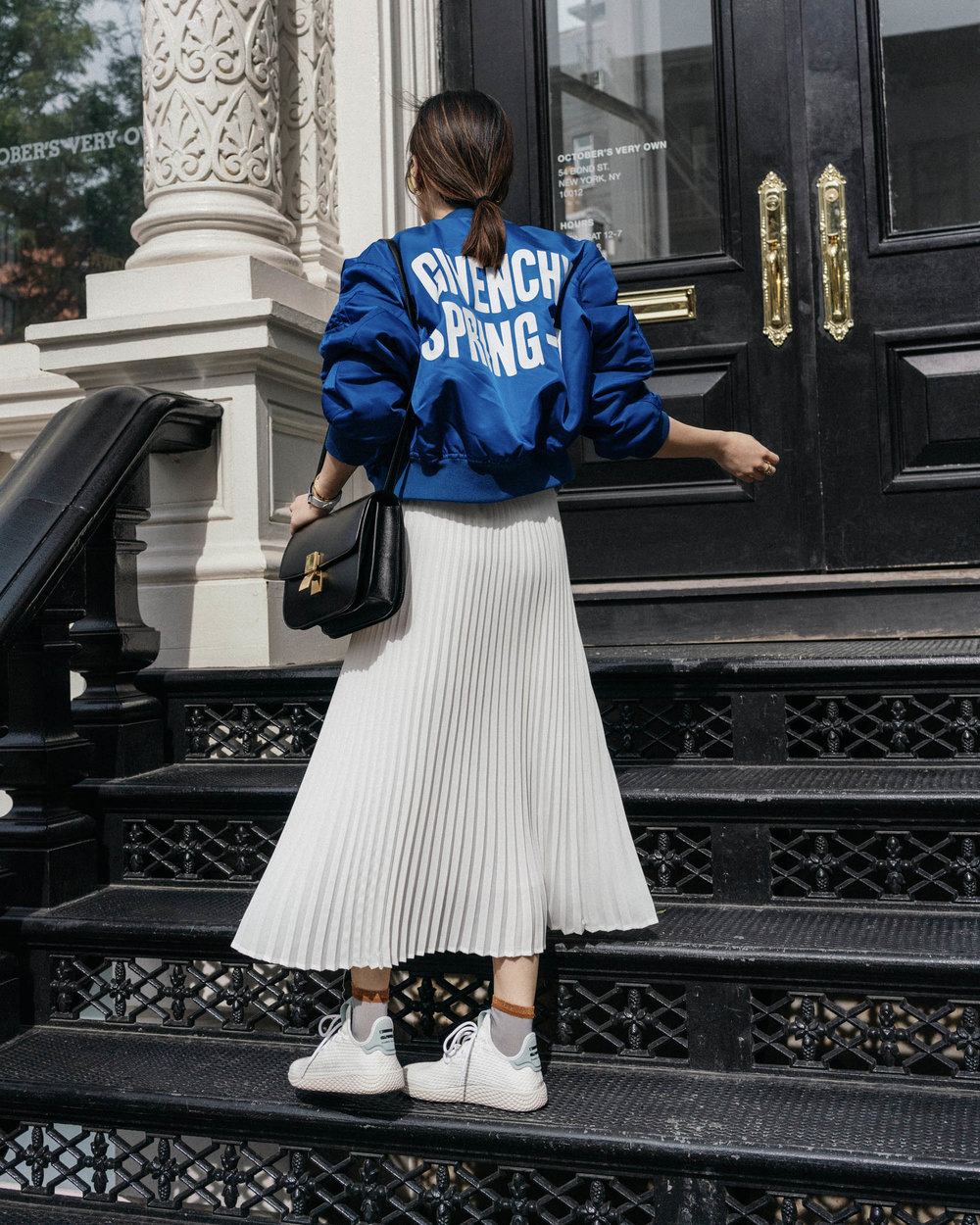 Givenchy Jacket,  Aritzia Skirt , Céline Bag,  Hysteria by Happy Socks ,  adidas Sneakers ,  Hermes Watch