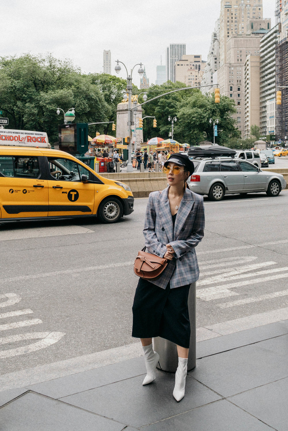 Kal Rieman Blazer ,  Barneys New York Boots ,  Loewe Bag , Gucci Hat, Gucci Sunglasses