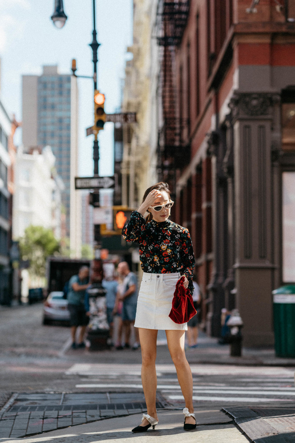Derek Lam Top ,  Everlane Skirt ,  The Row Shoes ,  The Row Bag ,  Celine Sunglasses