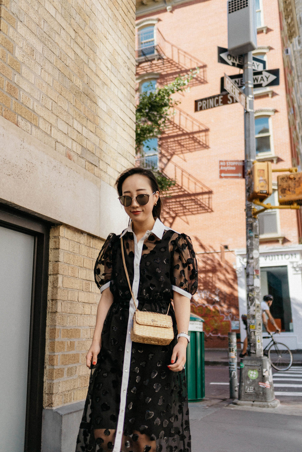 The Ashlynn Dress ,  adidas Sneakers ,  Gucci Bag , Oliver Peoples Sunglasses