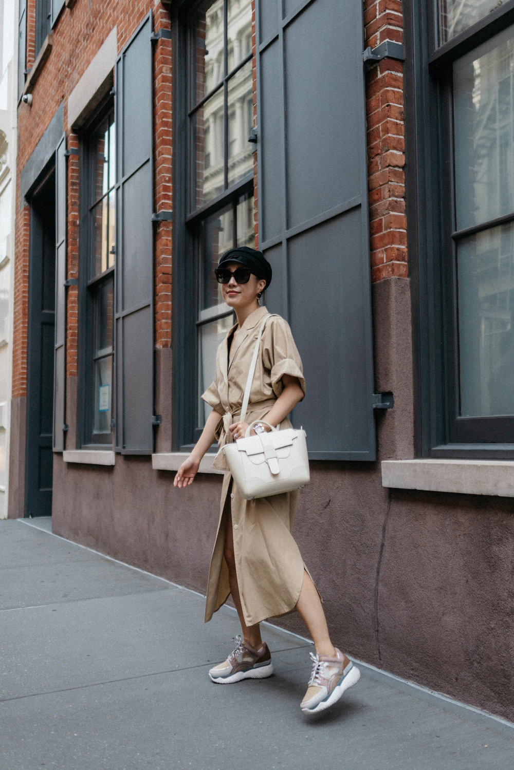 Yune Ho Dress ,  Fendi Sneakers ,  Senreve Bag , Gucci Hat,  Celine Sunglasses