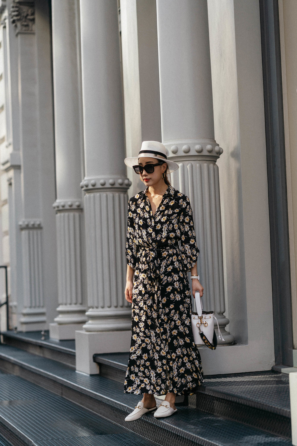ByTimo Dress ,  Gucci Slides ,  Fendi Bag , Maison Michel Hat,  Céline Sunglasses