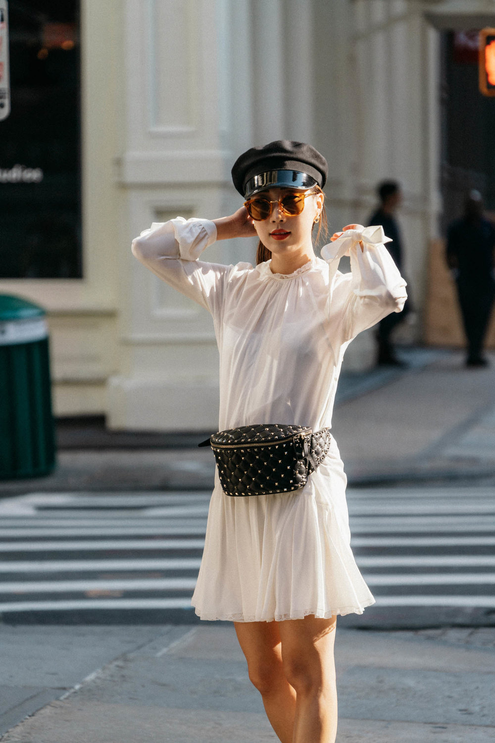 Prada Dress,  Fendi Sn  e  akers ,  Valentino Bag , Gucci Hat,  Céline Sunglasses