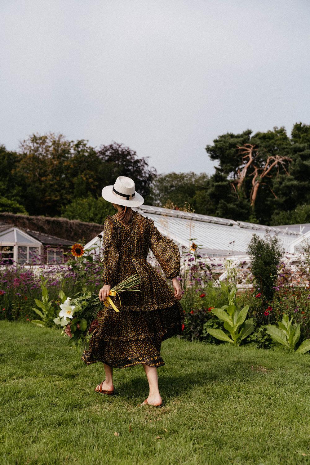 Ulla Johnson Dress , Manolo Blahnik Sandals, Gucci Bag, Maison Michel Hat,  Celine Sunglasses