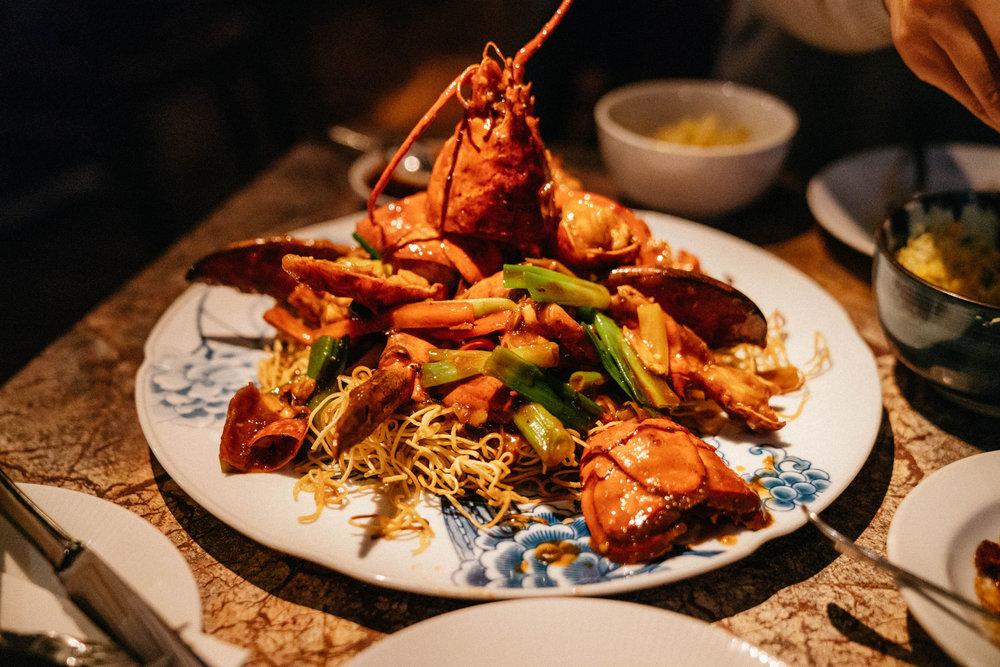 Lobster on crispy noodles