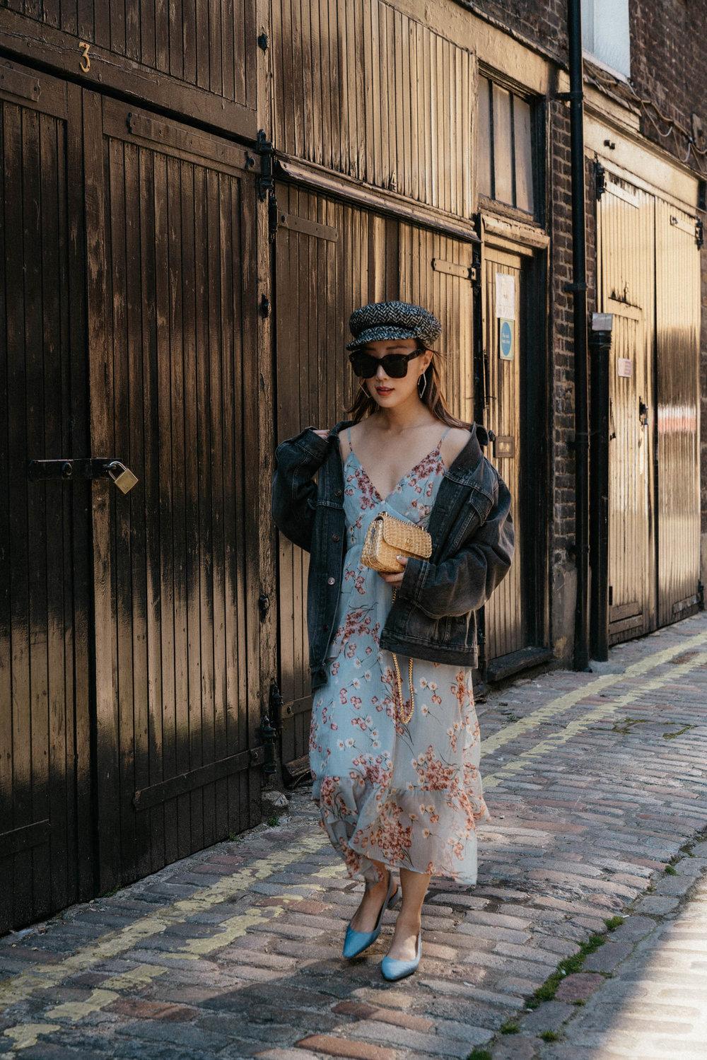 Balenciaga Jacket,  FiveSeventyFive Dress ,  Seven All Around Shoes , Eugenia Kim Hat, Gucci Bag, Celine Sunglasses