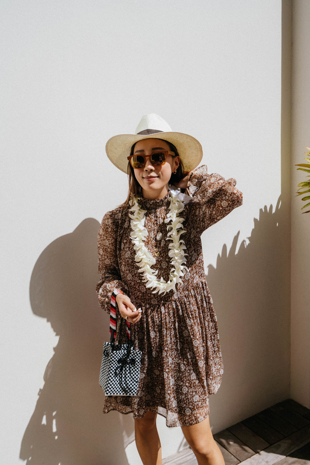 Sezane Dress ,  Truss Bag , Oliver Peoples x Byredo Sunglasses,  Janessa Leone Hat