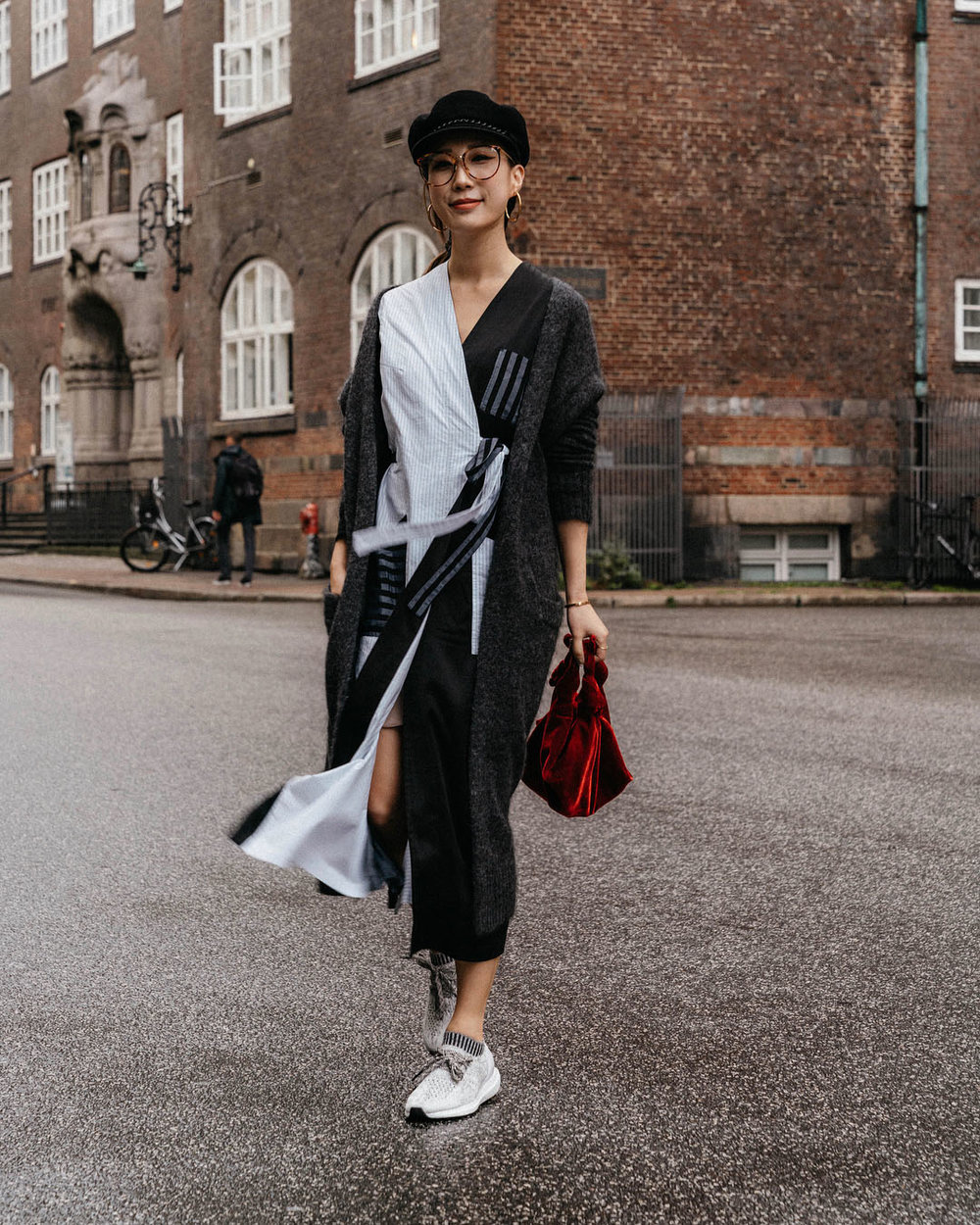 Acne Studios Cardigan, MM6 Dress, adidas Sneakers, The Row Bag,  Eugenia Kim Hat ,  Linda Farrow Glasses