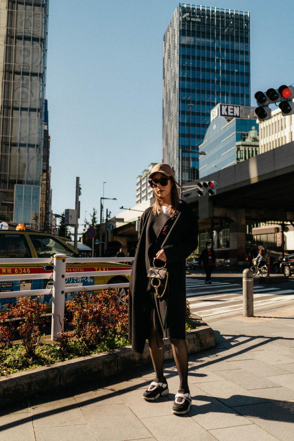 KUHO Coat, Sretsis Dress, Prada Sneakers, Chloe Bag, Converse Tokyo Hat