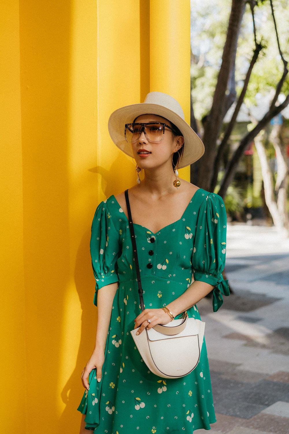 Sretsis Dress ,  Loewe Sunglasses ,  Mounser Earrings , Maison Michel Hat,  Wandler Bag