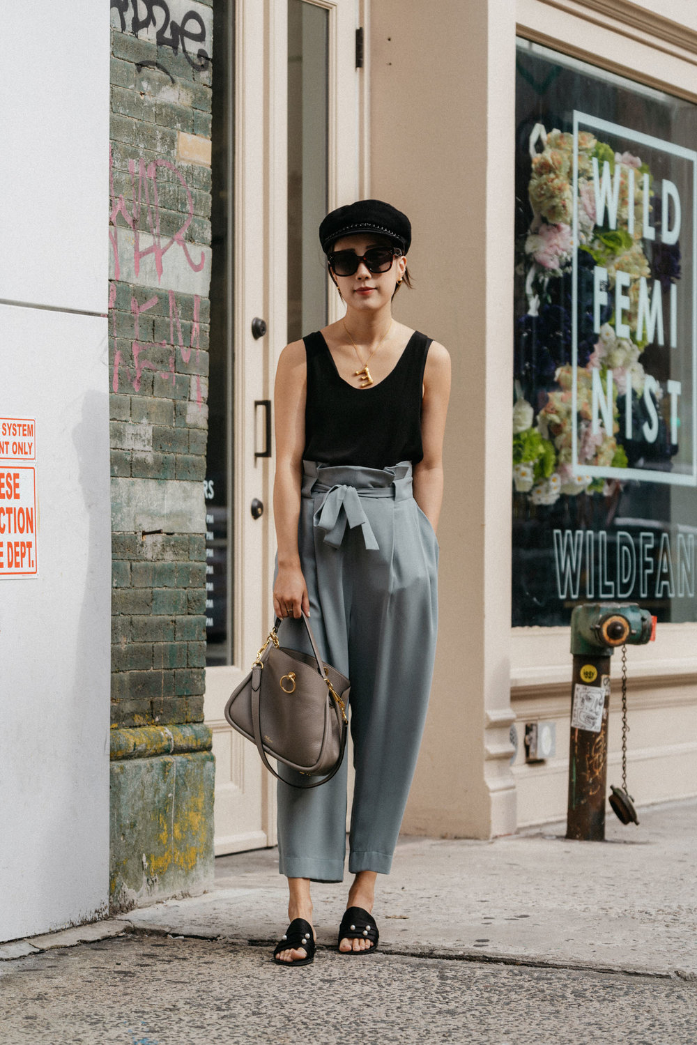Chloé Top,  Petite Studio Pants ,  Dear Frances Sandals ,  Mulberry Bag ,  Eugenia Kim Hat , Céline Sunglasses, Céline Necklace