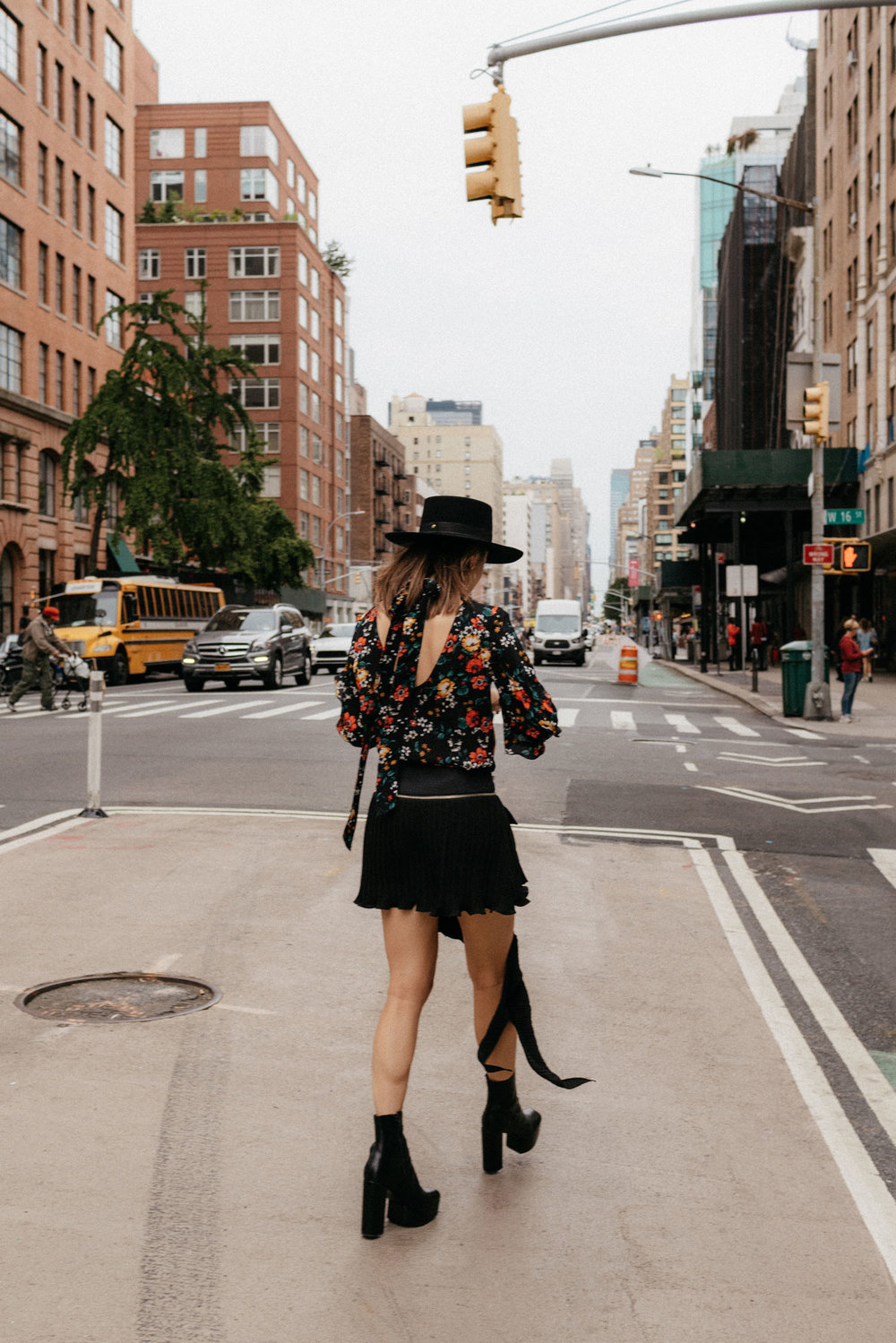 Derek Lam Top, LIE Collection Skort, Alexander Wang Boots,  Mulberry Bag ,  Janessa Leone Hat