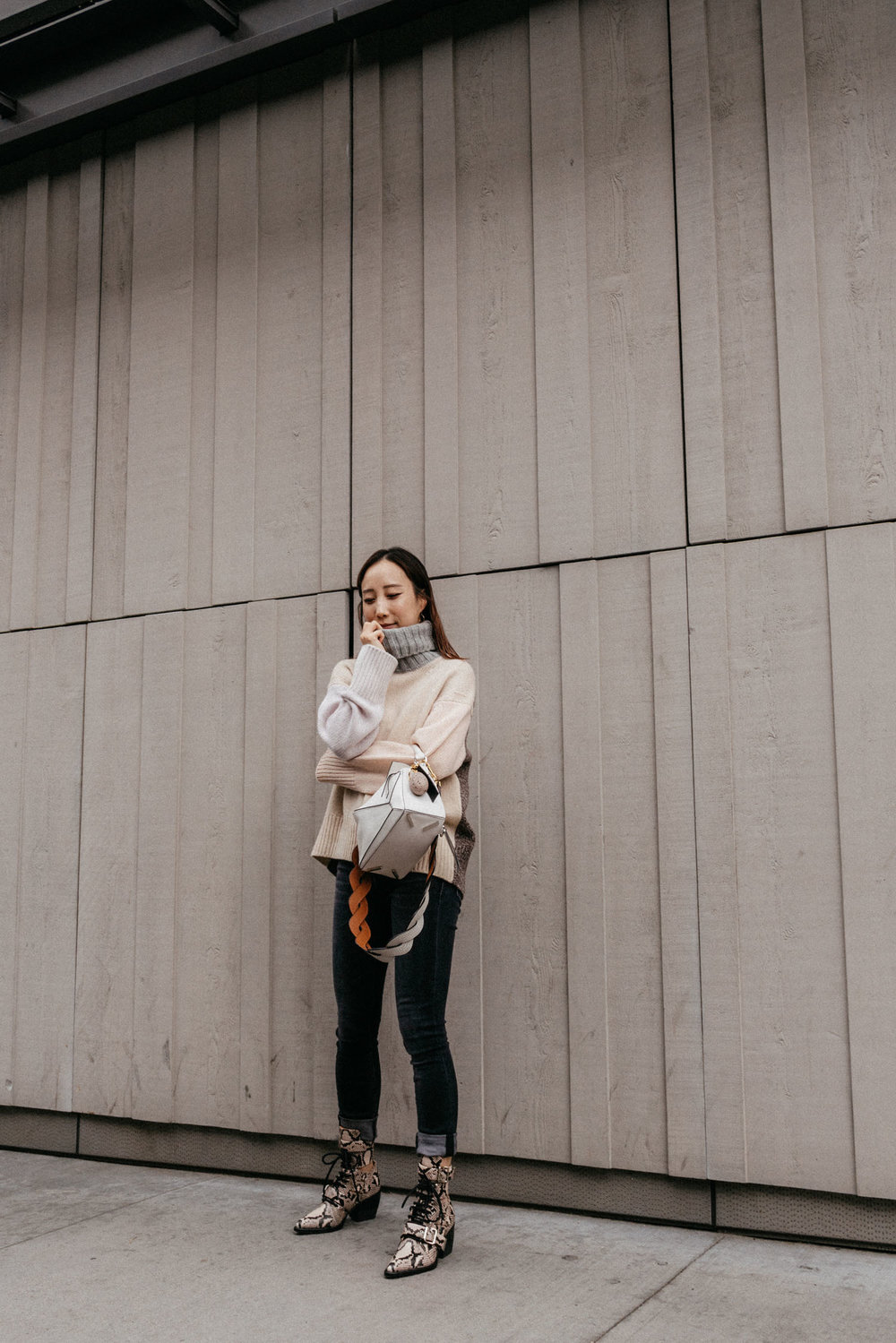 Tomorrowland Sweater ,  R13 Denim ,  Loewe Bag ,  Chloé Boots