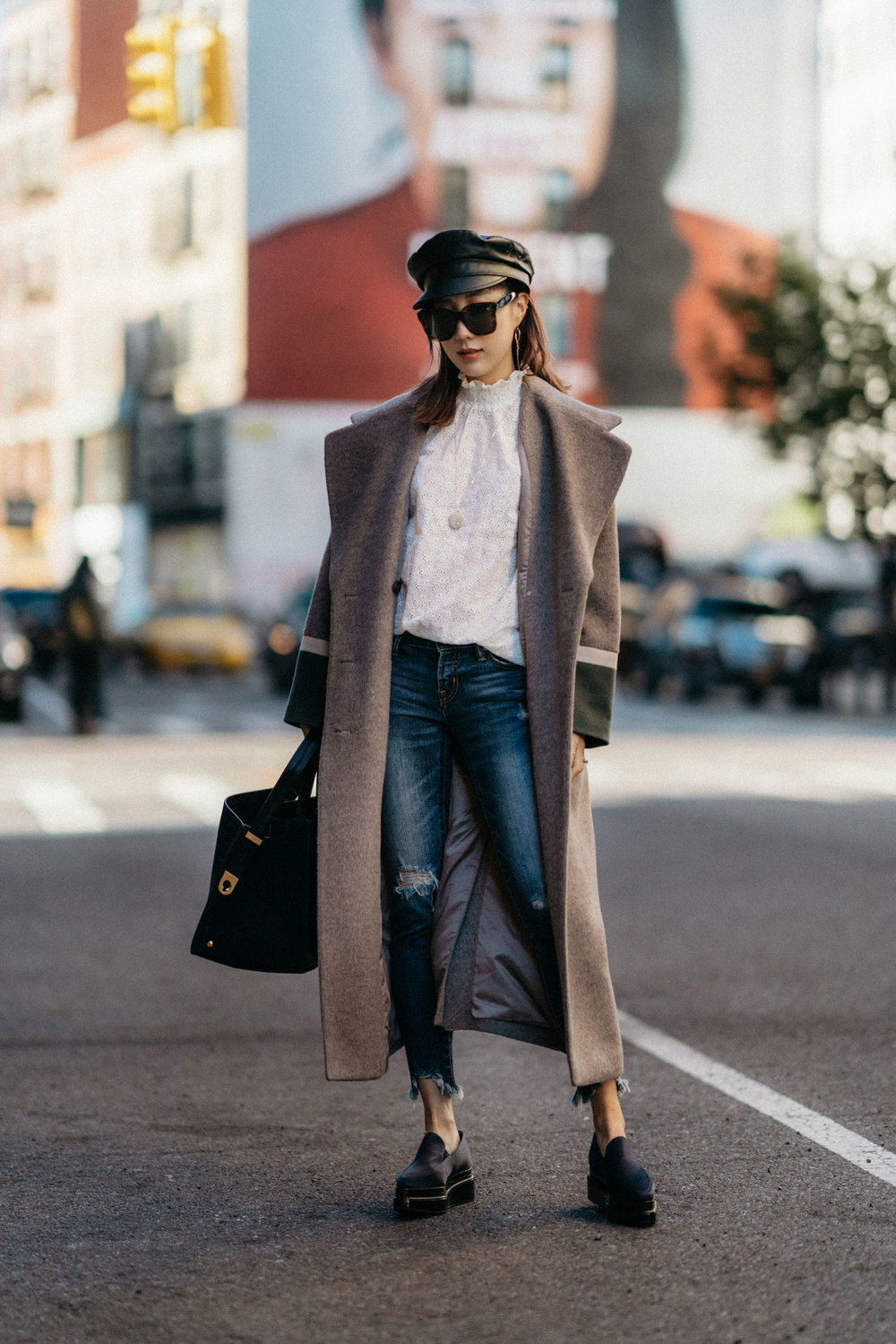 LIE Collection Coat ,  Sézane Top ,  Moussy Denim ,  Seven All Around Shoes ,  Eric Javits Hat , CVC Stones Necklace