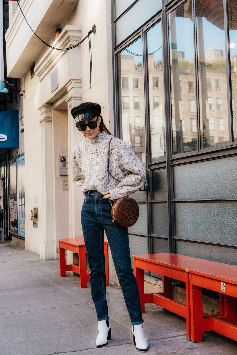 Isabel Marant Sweater,  Moussy Denim ,  Gianvito Rossi Boots ,  CO Collection Bag , Gucci Hat, Céline Sunglasses