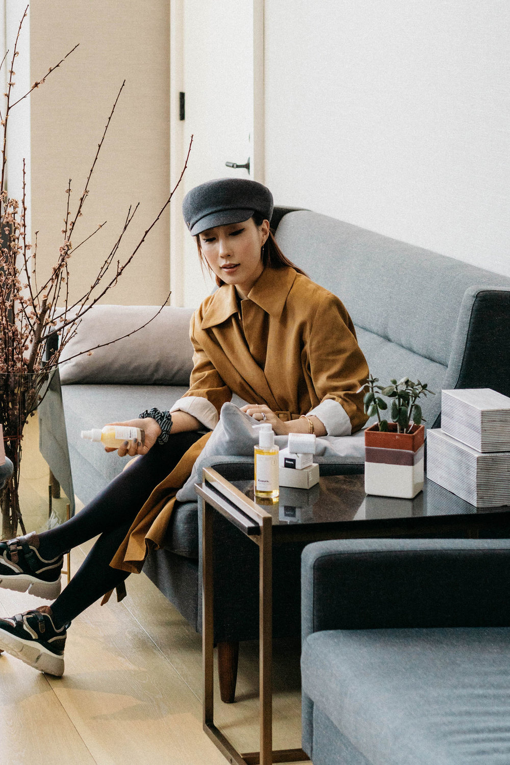 Knours Skincare , The Row Jacket,  Wolford Tights ,  Chloé Sneakers , Hérmes Hat