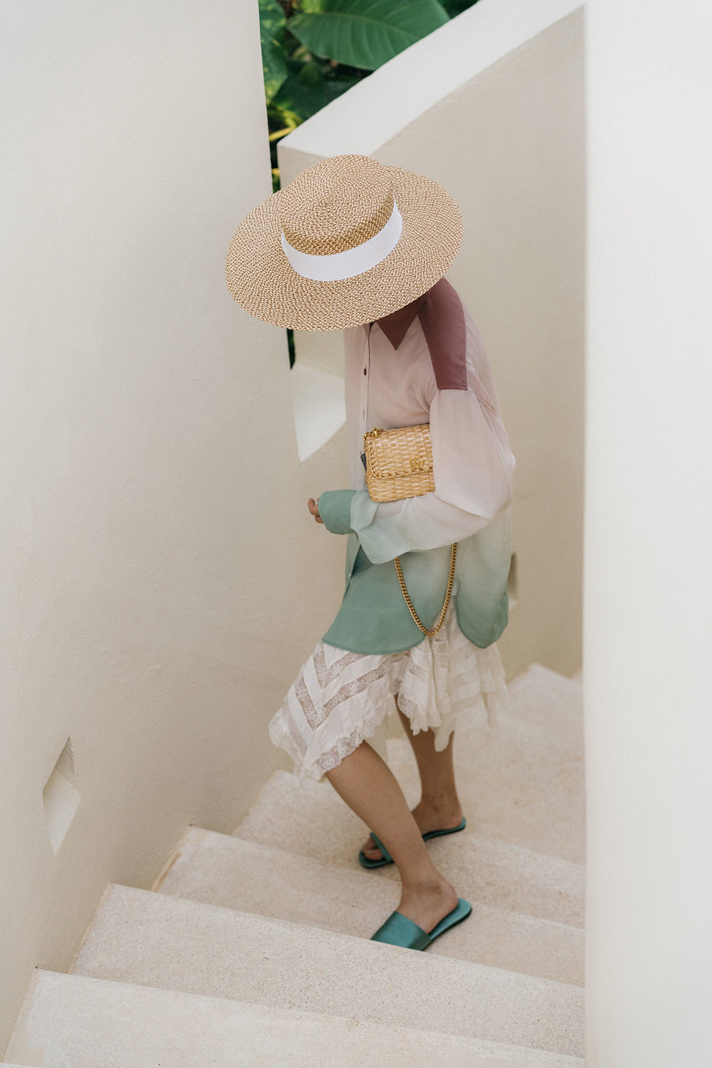 Sies Marjan Blouse, Philosophy di Lorenzo Serafini Skirt,  The Row Slides , Gucci Bag,  Eric Javits Hat ,  Céline Sunglasses