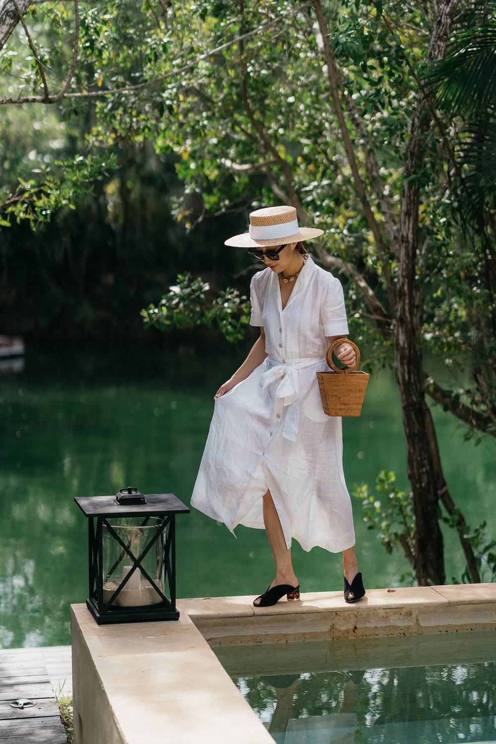 AMAIÒ Dress ,  Dear Frances Sandals ,  Bembien Bag ,  Eric Javits Hat ,  Brinker & Eliza Necklace ,  Lapima Sunglasses