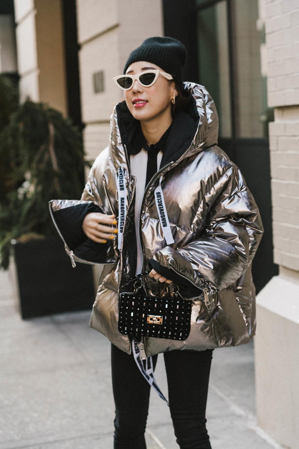 Khrisjoy Jacket , Dries Van Noten Top,  Balenciaga Sneakers ,  Valentino Bag , Celine Sunglasses, COS Beanie