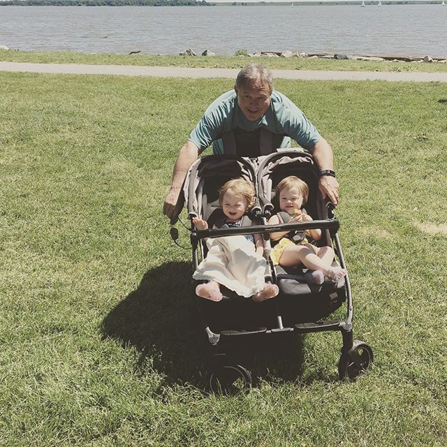 Poppop and his baby girls. Happy Father's Day. #autumn&natalie #batterypark