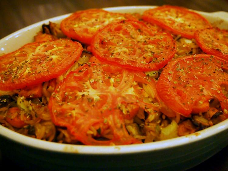 baked-orzo-veggies-mozzarella-oregano