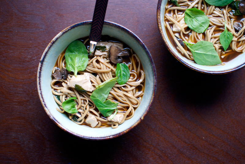 mushroom, spinach, and tofu soup with udon noodles — double thyme