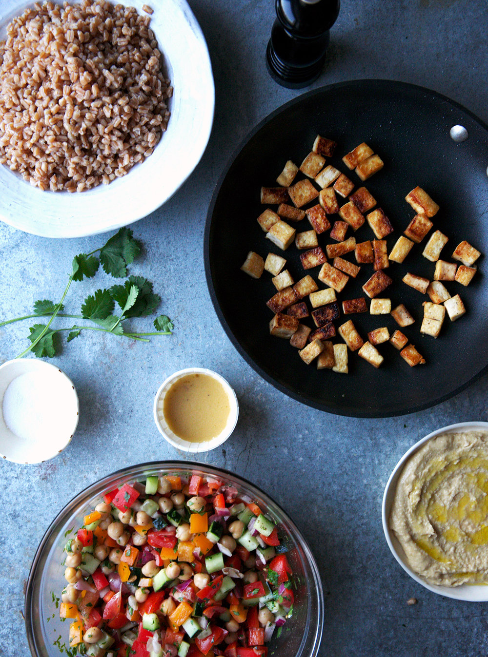 Greek Salad Power Bowl With Crispy Tofu and Farro