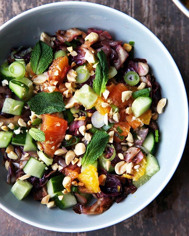 cara cara oranges are 🙌 so we made them the star of this wilted radicchio salad. link in bio! 🥒🍊🌿