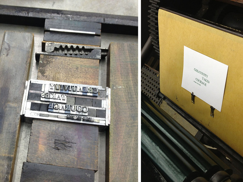 Metal type I set by hand; the finished results.