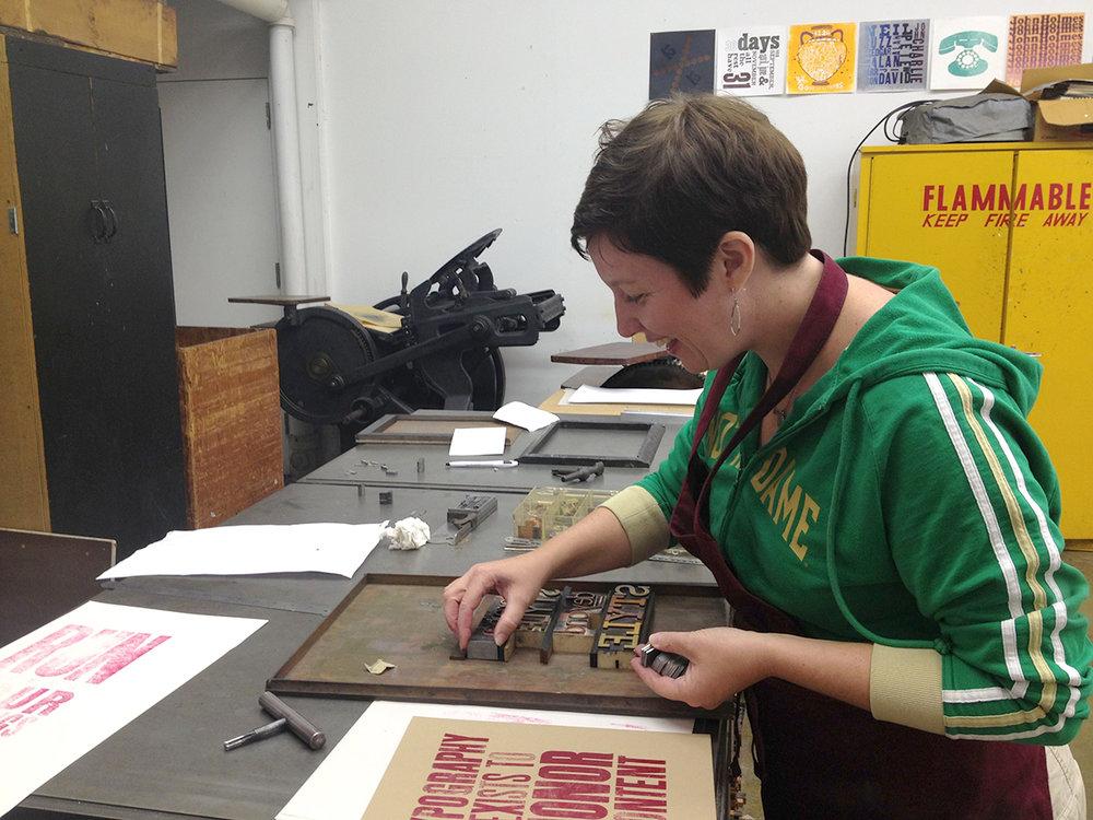Miranda loves letterpress!
