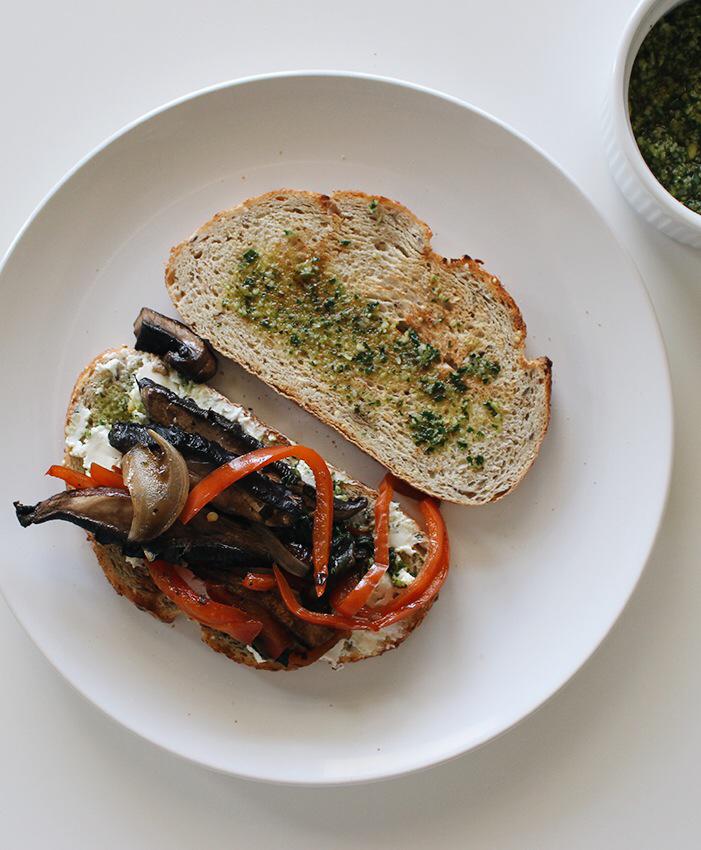 sandwich de hongos portobello