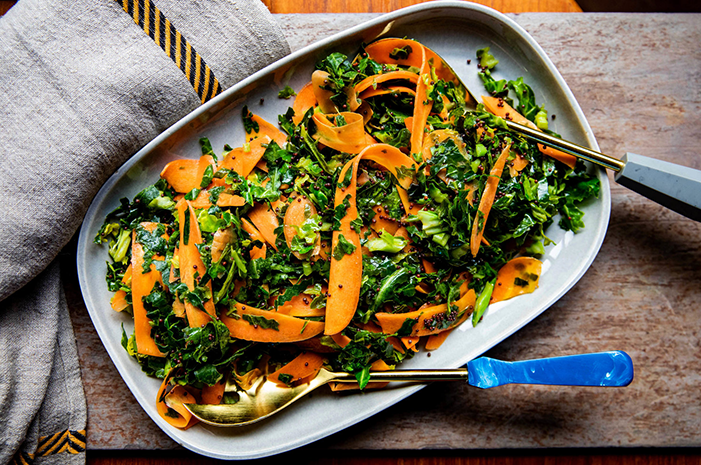 Honey Mustard Carrot Ribbons and Cabbage Greens   -  jasminehemsley.com