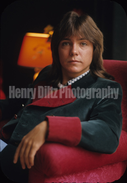 "This gorgeous 8 X 10 photo of David Cassidy is offered exclusively through Henry Diltz photography as a premium for our campaign to publish ""When We're Singin' - The Partridge Family and Their Music."" This shot was taken in Paris while on tour!"