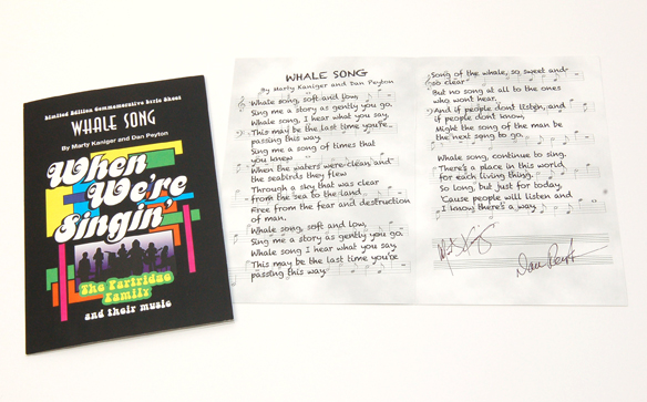 """Whale Song"" lyric commemorative, signed by BOTH songwriters, Dan Peyton and Marty Kaniger."