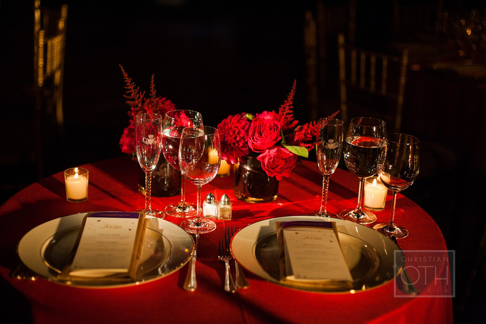 Sweetheart table.   Photo: Sue Kessler of  Christian Oth Studio