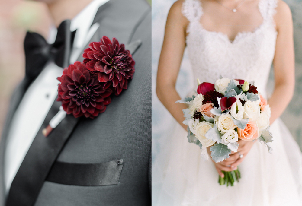 A September wedding incorporating cream, peach, blush, and cranberry tones.    The groom wore cranberry-toned dahlias.     Bridal bouquet of cream and peach roses, dahlia, lisianthus, calla lilies, scabiosa, and dusty miller.    Photo:  Rebecca Yale Photography
